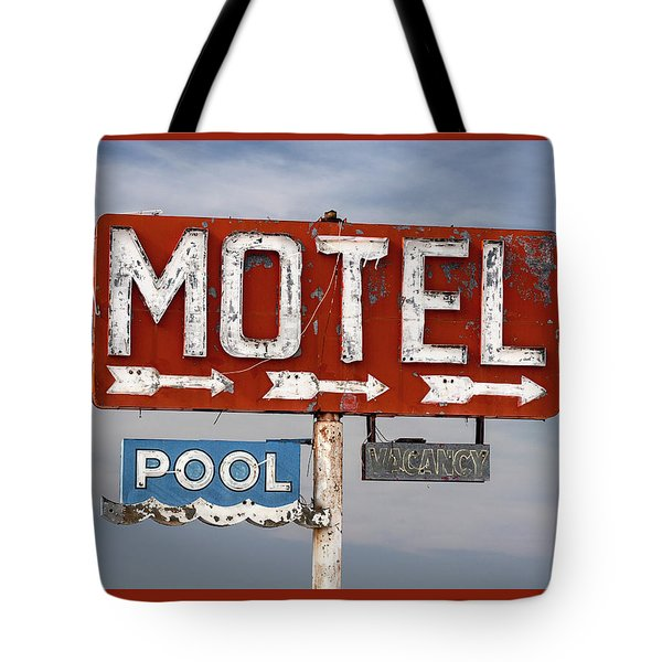 Tote Bag featuring the photograph Motel And Pool Sign Route 66 by Carol Leigh