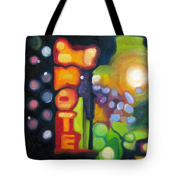 Tote Bag featuring the painting Motel Lights by Patricia Arroyo