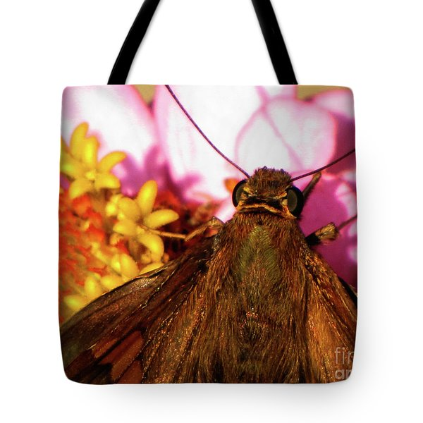 Moth On Pink And Yellow Flowers Tote Bag