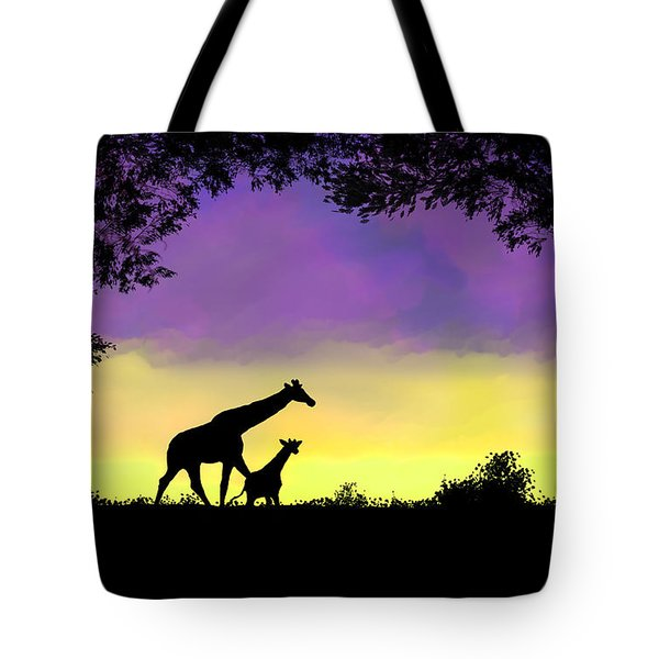 Mother And Baby Giraffe At Sunset Tote Bag