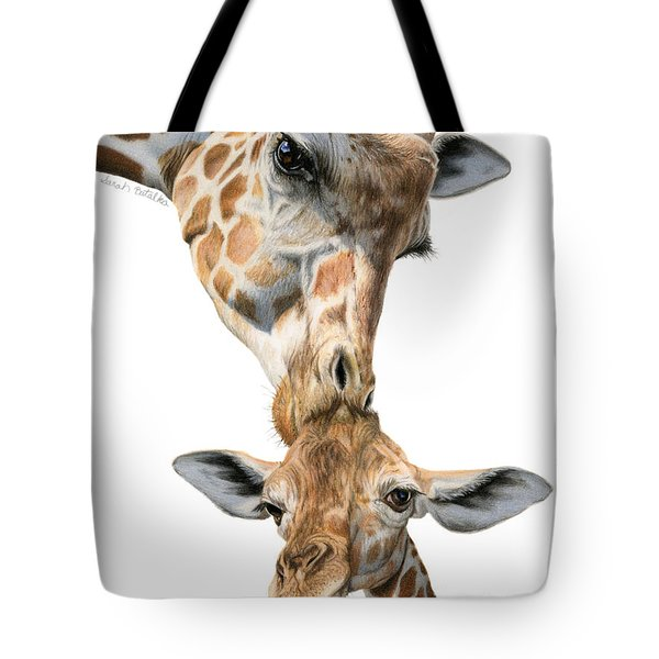 Mother And Baby Giraffe Tote Bag