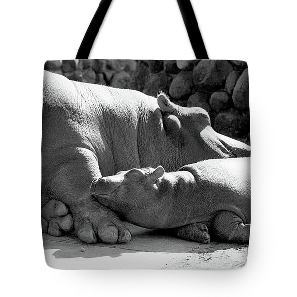 Mother And Baby Hippos Tote Bag
