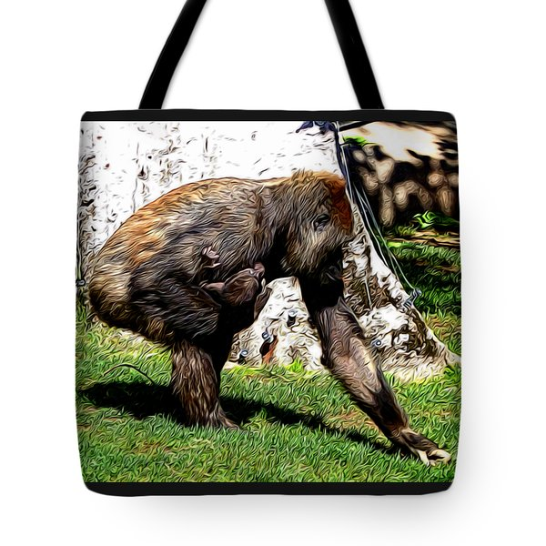 Mother And Baby In Abstract 3 Tote Bag