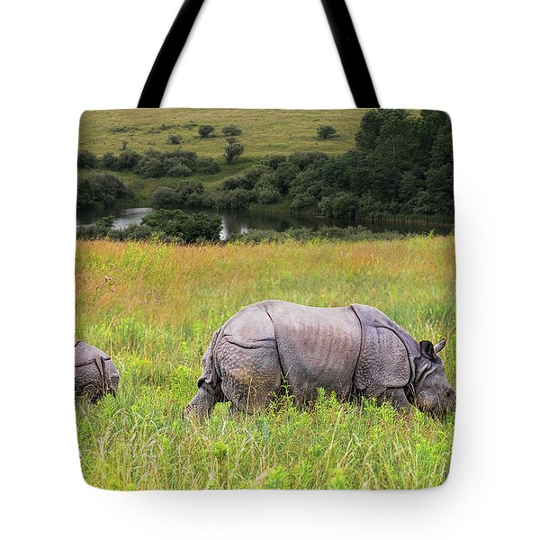 Mother And Baby Rhinos Tote Bag