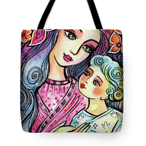 Tote Bag featuring the painting Mother And Child In Blue by Eva Campbell