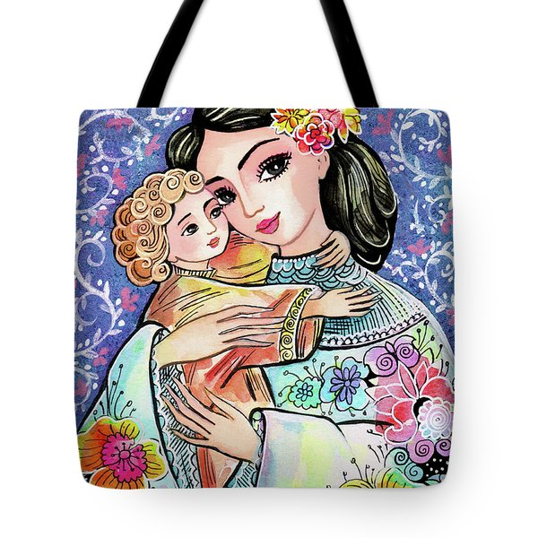 Tote Bag featuring the painting Woman And Child In Flowers by Eva Campbell