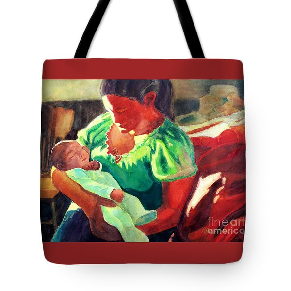 Tote Bag featuring the painting Mother And Child In Red2 by Kathy Braud