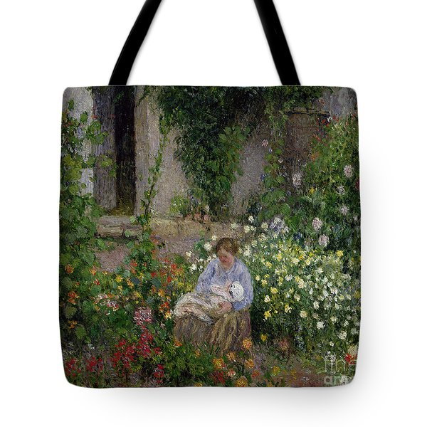 Mother And Child In The Flowers Tote Bag by Camille Pissarro