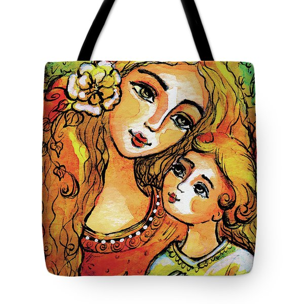 Tote Bag featuring the painting Mother And Child In Yellow by Eva Campbell