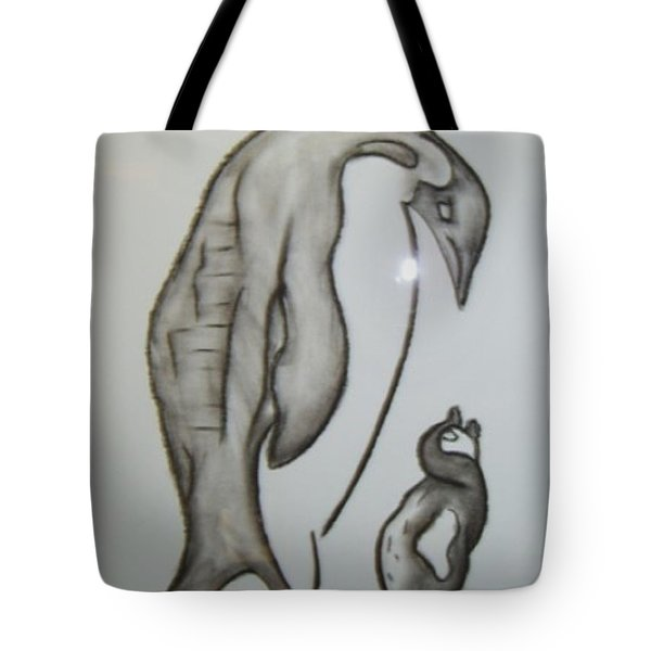 Mother And Child Penguins Tote Bag