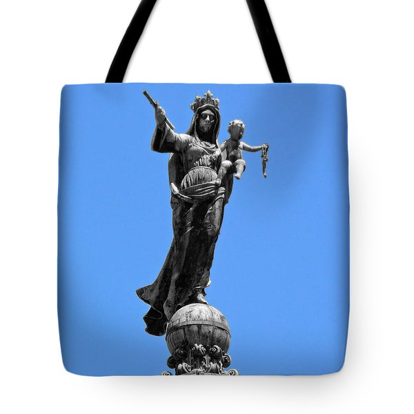 Mother And Child Rooftop Statue Tote Bag