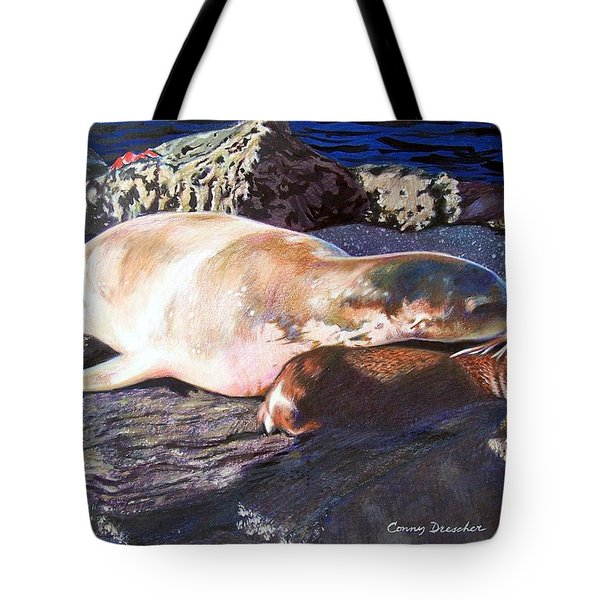 Mother And Child Sea Lion Tote Bag