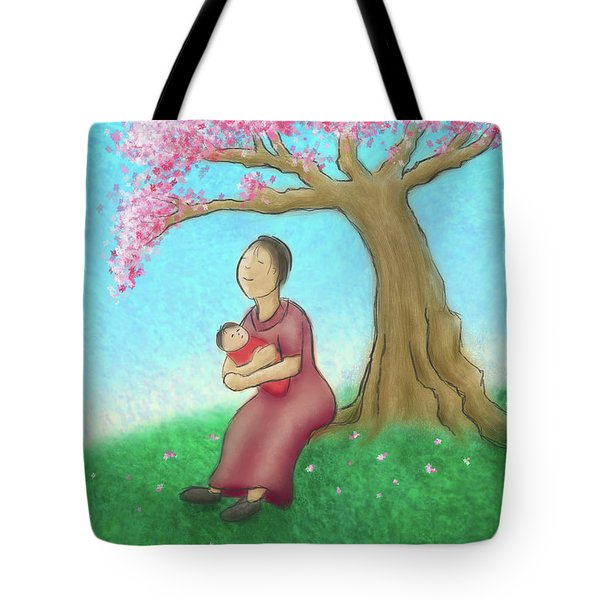 Mother And Child With Cherry Blossoms Tote Bag