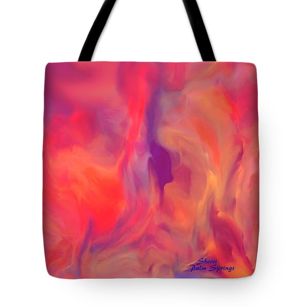 Tote Bag featuring the painting Mother And Daughter Abstract by Sherri  Of Palm Springs