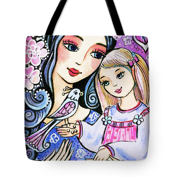 Tote Bag featuring the painting Mother And Daughter In Blue by Eva Campbell