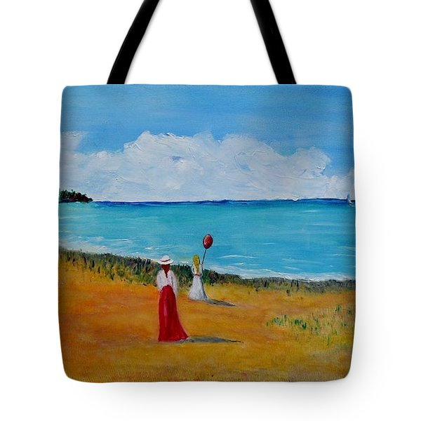 Tote Bag featuring the painting Mother And Daughter by Marilyn  McNish