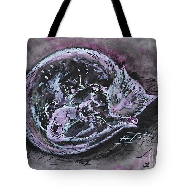 Tote Bag featuring the painting Mother Cat With Kittens by Zaira Dzhaubaeva