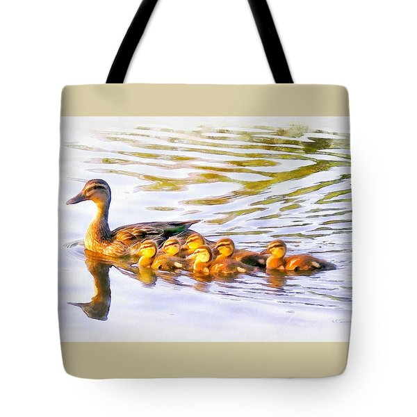 Mother Duck And Ducklings Tote Bag