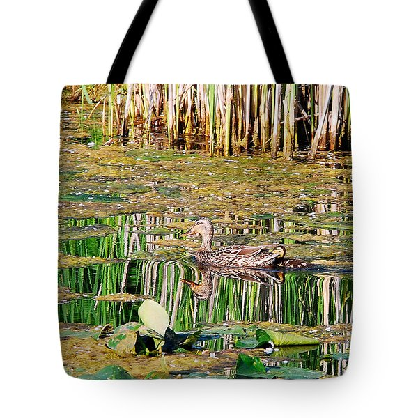 Mother Duck And Her Little Duckling Tote Bag by Janice Adomeit