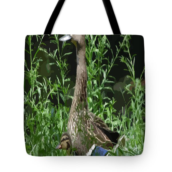 Mother Duck Dry Brush Tote Bag