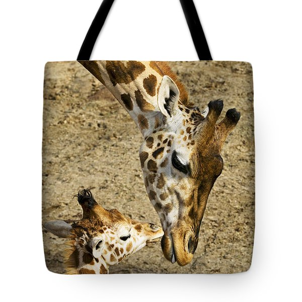 Mother Giraffe With Her Baby Tote Bag