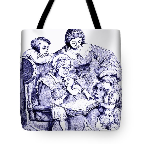 Mother Goose Reading To Children Tote Bag by Marian Cates