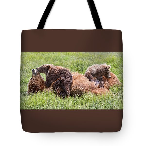 Mother Grizzly Suckling Twin Cubs Tote Bag