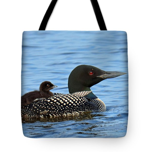 Mother Loon And Her Baby Tote Bag