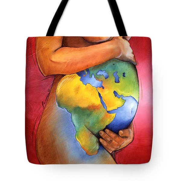 Tote Bag featuring the painting Mother Of All Colors by Christopher Marion Thomas