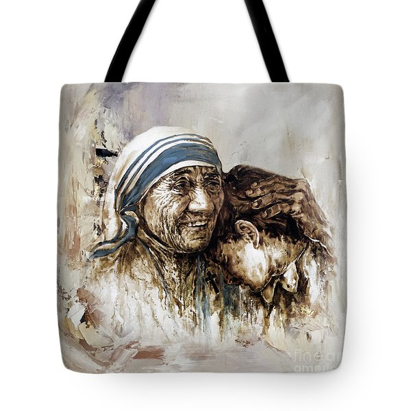 Tote Bag featuring the painting Mother Teresa  by Gull G
