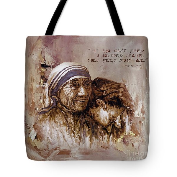 Tote Bag featuring the painting Mother Teresa Of Calcutta  by Gull G