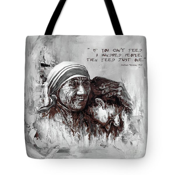 Tote Bag featuring the painting Mother Teresa Of Calcutta Portrait  by Gull G