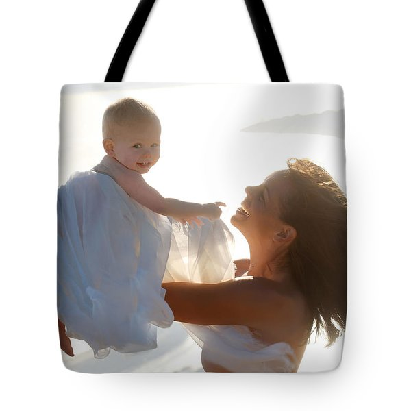 Mother With Baby In Pure Joy, Marin County, California Tote Bag