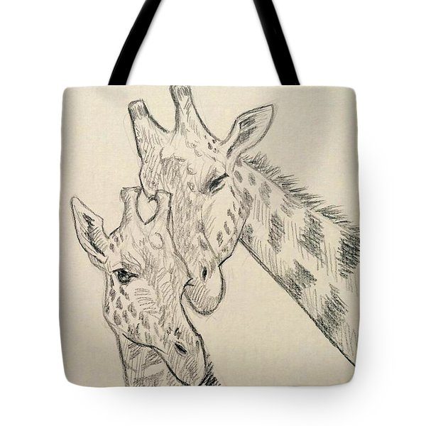 Tote Bag featuring the drawing Motherly Knudge by Jennifer Hotai