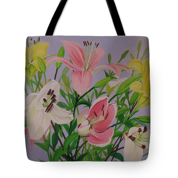 Tote Bag featuring the painting Mother's Day Bouquet by Hilda and Jose Garrancho