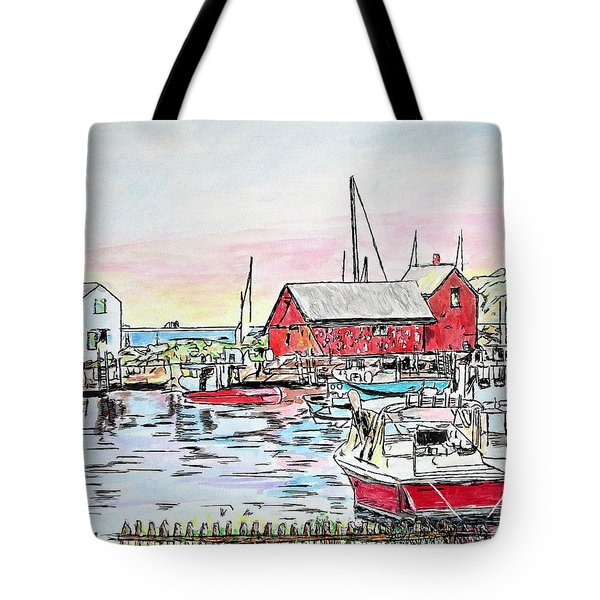 Tote Bag featuring the drawing Motif #1 Rockport, Massachusetts by Michele A Loftus