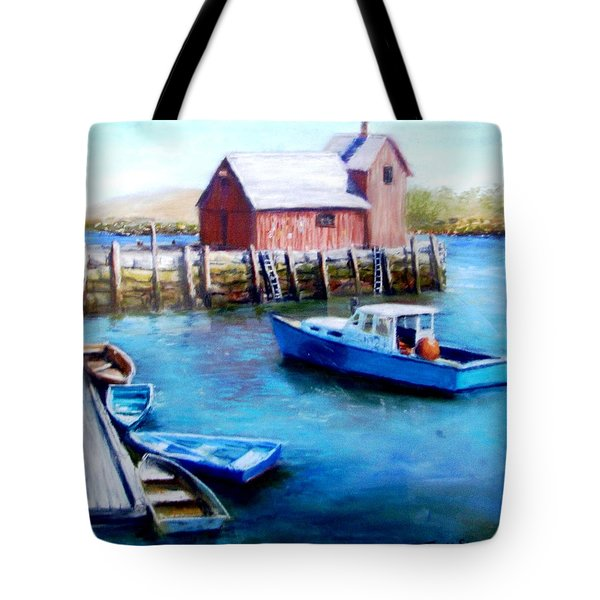Tote Bag featuring the painting Motif One Rockport Harbor by Jack Skinner