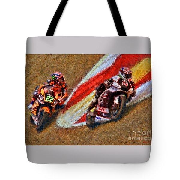 Moto2 Johann Zarco Leads Sam Lowes Tote Bag