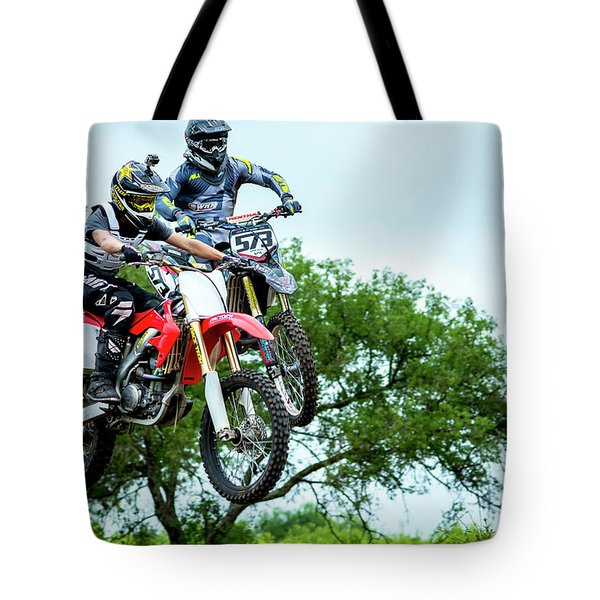 Tote Bag featuring the photograph Motocross Battle by David Morefield