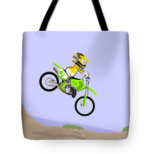 Motocross Rider Running A Dirt Track Race Jumping Fast On Their Powerful Green Motorcycle Tote Bag