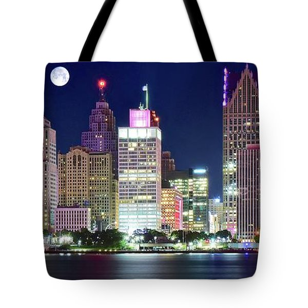 Tote Bag featuring the photograph Motor City Night With Full Moon by Frozen in Time Fine Art Photography