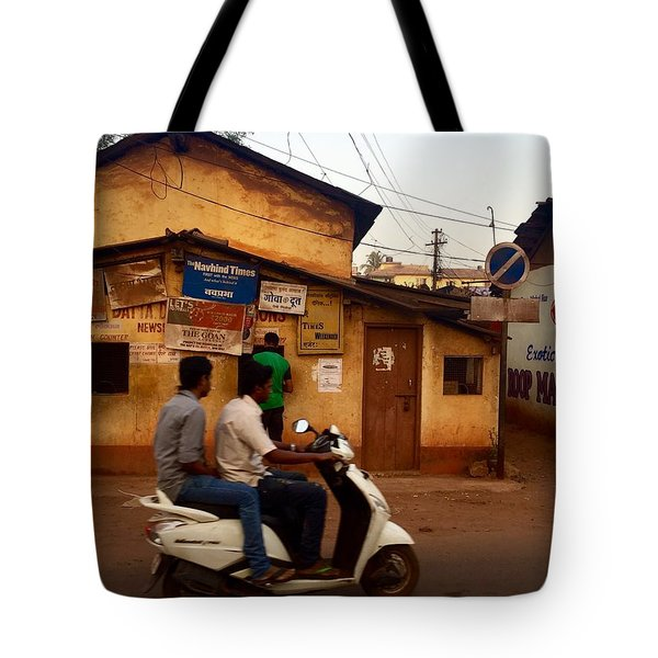 Motorbike Crossing Goa Times Newstand Tote Bag
