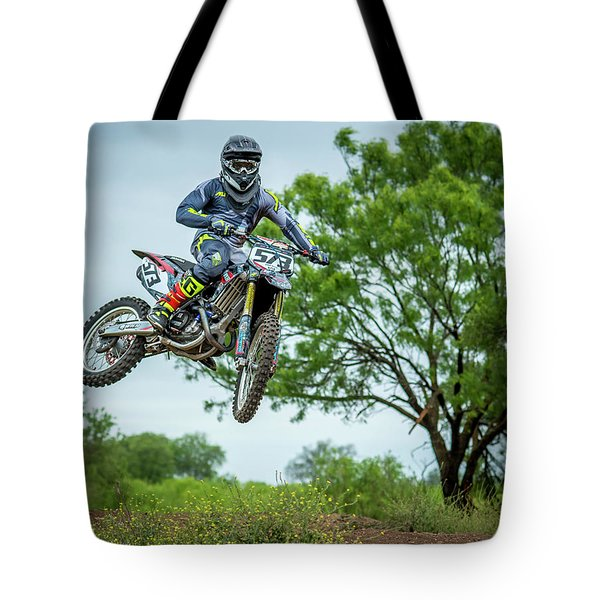 Tote Bag featuring the photograph Motocross Aerial by David Morefield