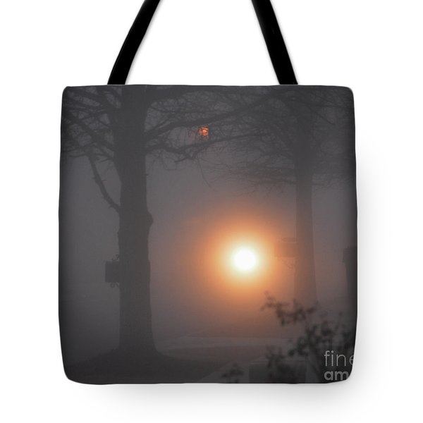 Motorcycle In The Fog In Loganville Georgia Tote Bag