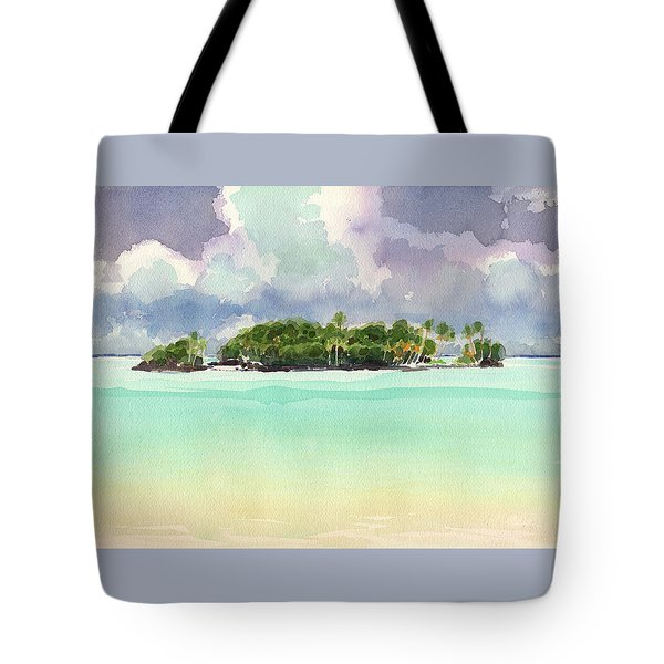 Tote Bag featuring the painting Motu Rapota, Aitutaki, Cook Islands, South Pacific by Judith Kunzle