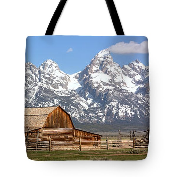 Moulton Barn Blue Sky Panorama Tote Bag by Adam Jewell