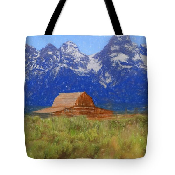 Moulton Barn Color Sketch Tote Bag