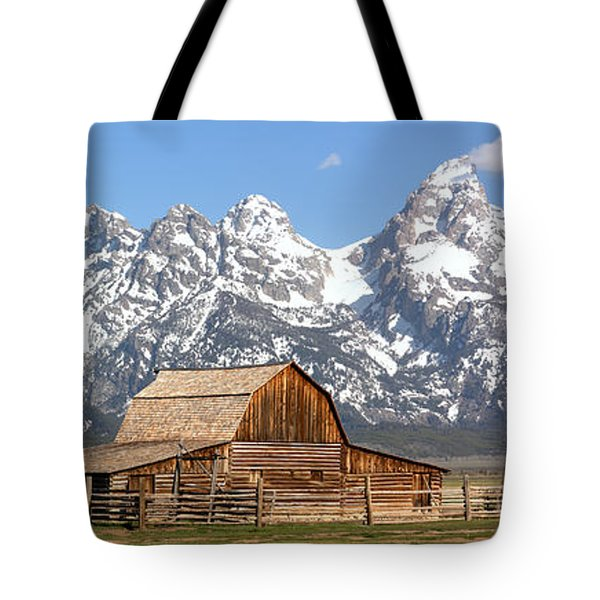 Moulton Barn Homestead Spring Panorama Tote Bag by Adam Jewell