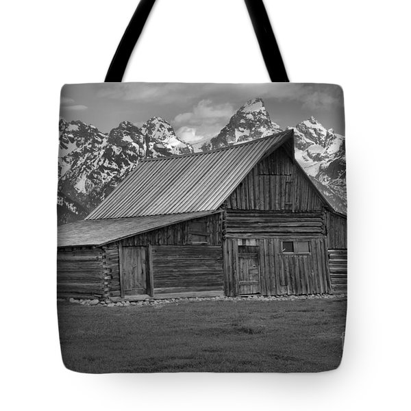 Moulton Barn Springtime Black And White Tote Bag by Adam Jewell