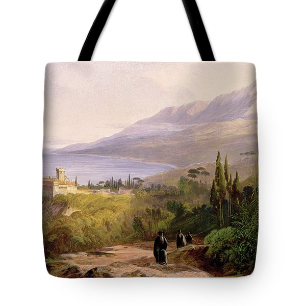 Mount Athos And The Monastery Of Stavroniketes Tote Bag by Edward Lear